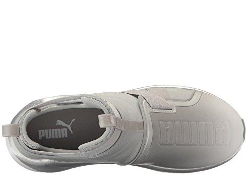 PUMA Women's Fierce Strap Metallic WN's Cross-Trainer Shoe, Silver White, 7.5 M US