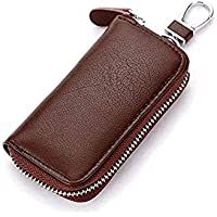 DALUCI Genuine Key Holder Case Leather Keychains Pouch Bag Car Wallet Key Ring (Brown) (1)