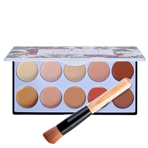 AHAYAKU Full Coverage Cream Concealing Foundation Concealer Makeup Silky 10 Colors+Brush
