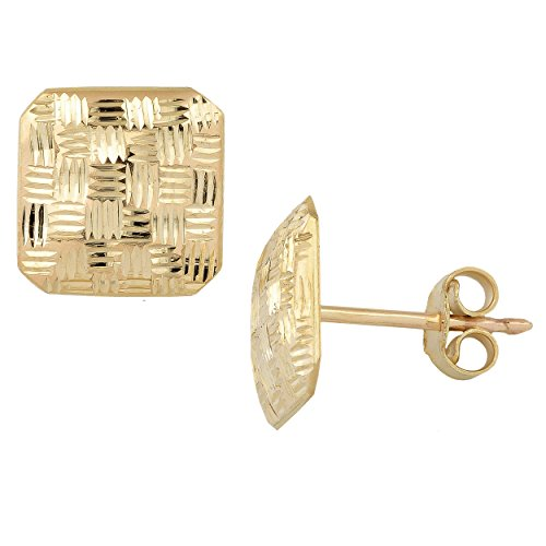 10k Yellow Gold Weave Design Square Post Earrings