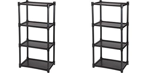 4-Shelf Shelving Unit - No tools Snap On - Black - 38.5'' H x 18.25'' W x 12.5'' D x - SET OF 2