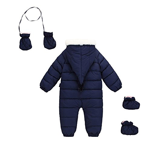 Warm Down Winter blue 6 Puffer Hooded 48 Happy Jumpsuit Navy Baby Jacket Cherry Snowsuit Outerwear Thick Romper Months pxAUwq