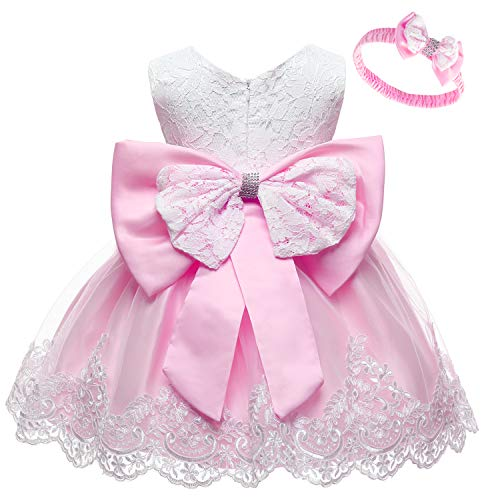 LZH Baby Girls Lace Bowknot Flower Dress Wedding Pageant Baptism Christening Tutu Gown Pink, 12M(6-12 Months) -