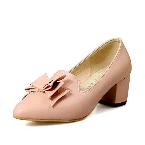 c082e1841d05d6 AllhqFashion Damen Weiches Material Spitz Schließen Zehe Mittler Absatz  Pumps Schuhe Pink