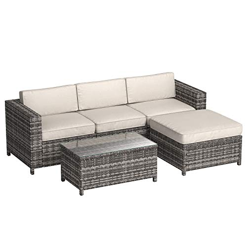 - AmazonBasics 5-Piece Patio PE Wicker Rattan Sectional Furniture Set