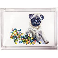 Rainbow Card Company 10-pack Christmas Postcards - Pug