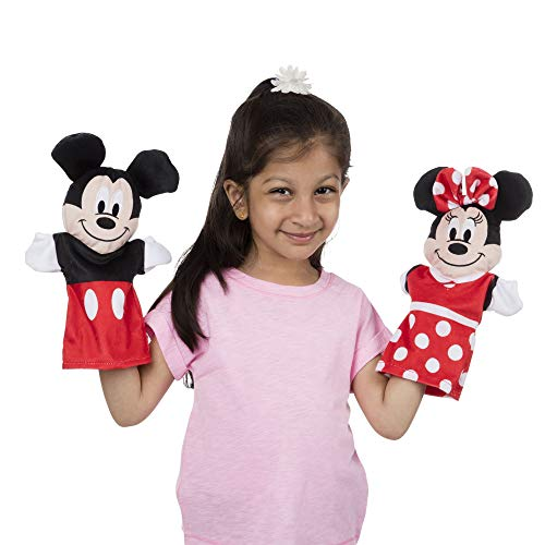 """Melissa & Doug Mickey Mouse & Friends Hand Puppets; Puppet Sets; Mickey, Minnie, Donald, and Goofy; Soft Plush Material; Set of 4; 9.5"""" H x 14.2"""" W x 2.1"""" L by Melissa & Doug (Image #1)"""