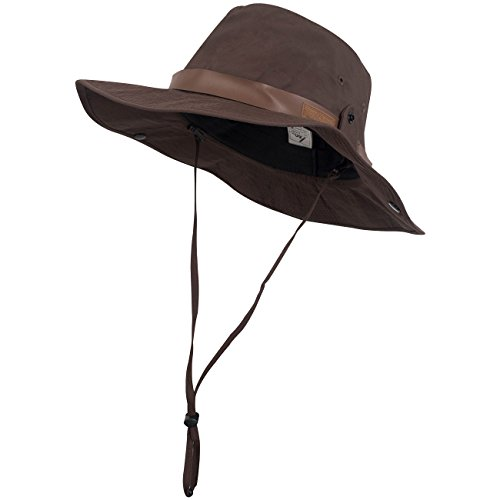 CapGear Mens Outdoor Cool Hiking Camping Fishing Sun Hat Chin Strap (Brown Chin Strap)