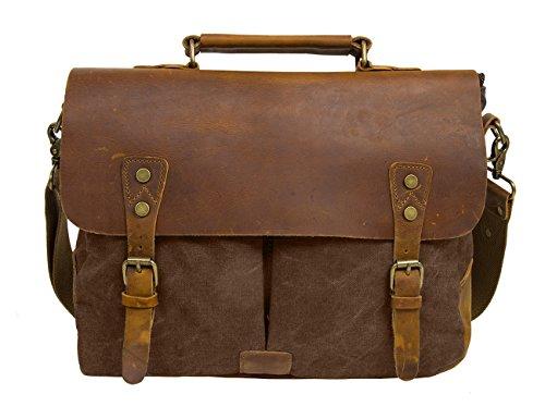 Ecosusi Aktentasche Messenger Bag Damen Umhängetasche Herren Schultertasche Leder Tasche