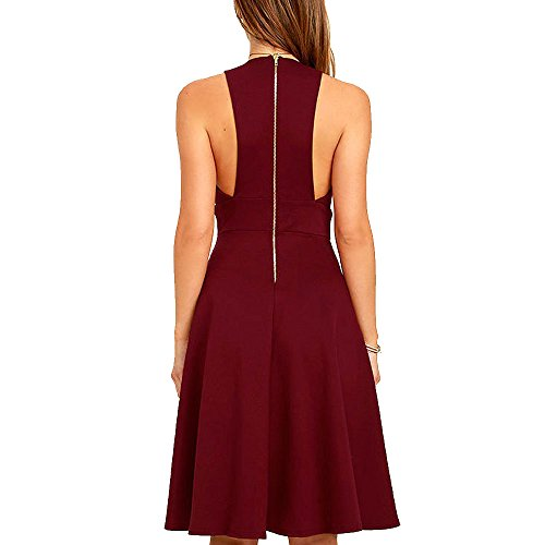 Summer Women's A-Line Sleeveless Deep V-Neck MIDI Dress (M, Burgandy) by YOOHOG (Image #1)