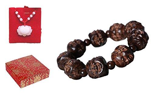 poppee The Chakras Bangle Natural Stone Budhi Seed Mala Handmade Tibetan Buddhist Prayer Beads Bracelet Bangle for Men and Women with Gift Box (Four Face Buddha)