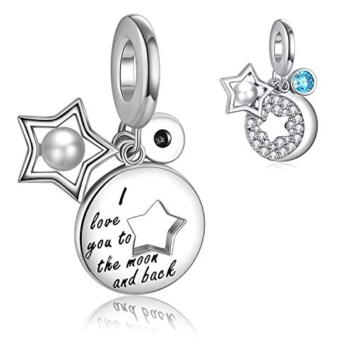 Forever Queen ❤ I Love You to the Moon and Back ❤ Charm for Pandora Charm Bracelet& Necklace Chain, 925 Sterling Silver Moon& Star Charm with Shell Pearl and Round ()