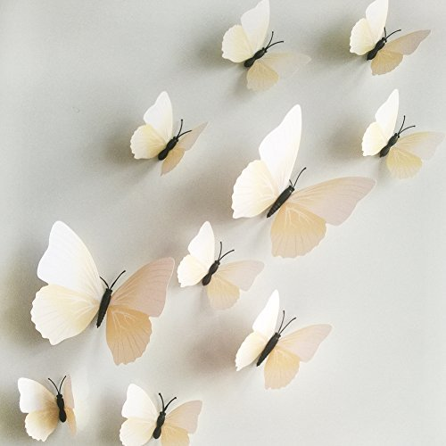 12Pcs Art Decal Home Decor Room Wall Stickers 3D Butterfly Stickers Decorations - 3