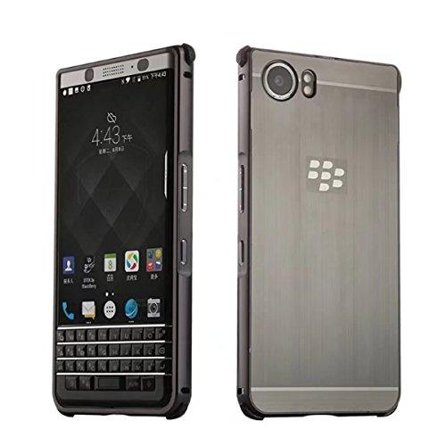 KEYone Case,BlackBerry KEYone Case,DAMONDY Luxury Ultra thin Imitation Metal Brushed Premium Aluminum Shockproof Protective Bumper Hard Back Case Cover for BlackBerry KEYone-Black
