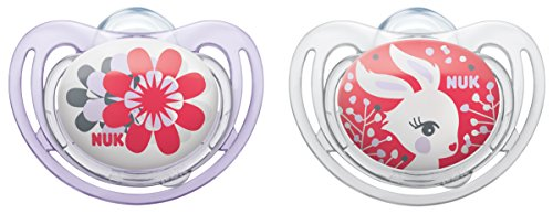 NUK 10177052 Silikon Beruhigungssauger (Schnuller) Freestyle mit Ring, Größe 3 (18-36 Monate), BPA-frei, 2 Stück, Girl