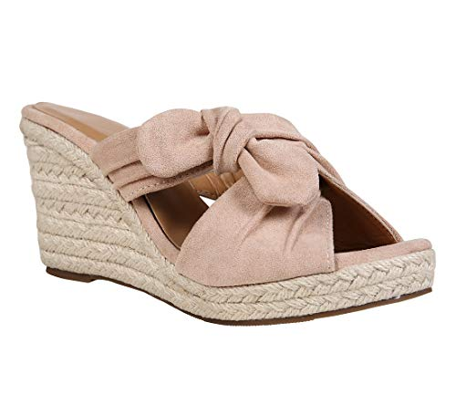Fashare Womens Platform Espadrille Wedge Slide Sandals Bowtie Knot Open Toe Slip on Summer Mules Shoes Nude - Knot Wedge Sandal