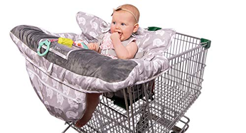 - 2-in-1 Baby Shopping Cart Cover and High Chair Protector - Germ-Protecting Seat Covers for Grocery Carts, Restaurant High-Chairs - Universal, Soft, Safe - Travel Gear for Babies, Infants