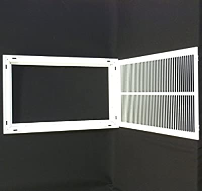 "14"" X 24 Steel Return Air Filter Grille for 1"" Filter - Removable Face/Door - HVAC DUCT COVER - Flat Stamped Face - White [Outer Dimensions: 16.5""w X 26.5""h]"