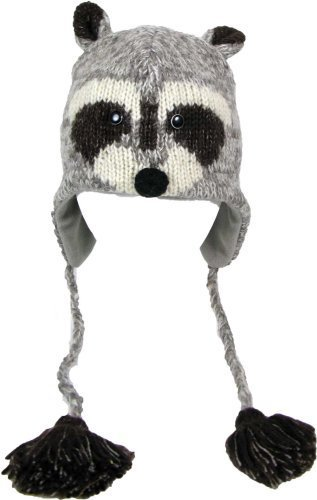 DeLux Raccoon Face Wool Pilot Animal Cap/Hat with Ear Flaps and Poms