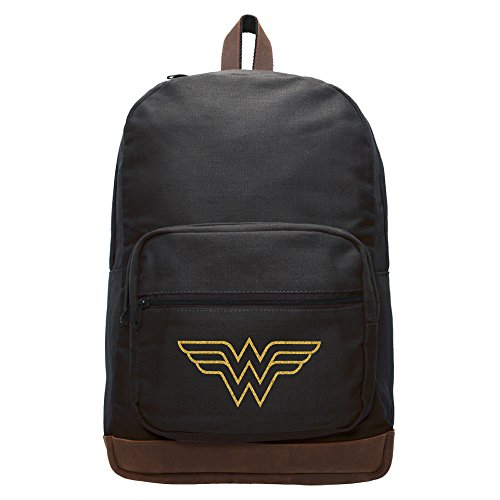 Canvas Teardrop Pack - Wonder Woman Symbol Canvas Teardrop Backpack with Leather Bottom, Black & Gold