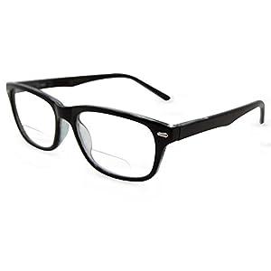 In Style Eyes Seymore Wayfarer BiFocal Reading Glasses Black 2.00
