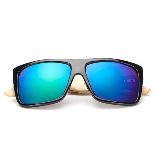 JapanX Bamboo Sunglasses & Wood Wooden Sunglasses for Men Women, Polarized Lenses Gift Box – Wooden Vintage Wayfarer Sunglasses - Bamboo Wood Wooden Frame – New Style Sunglasses (A1 Blue - Glasses Japanese Frames Wooden