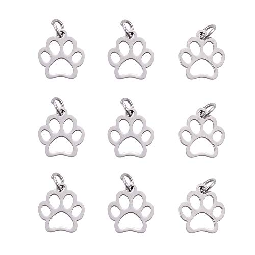 (DanLingJewelry 304 Stainless Steel Dog Paw Print Charm Doggy Cat Animal Footprint Pendant for DIY Crafting Bracelet Necklace Jewelry Findings(Stainless Steel Color-10pcs,13 x 12 x 1mm Hole: 4mm))