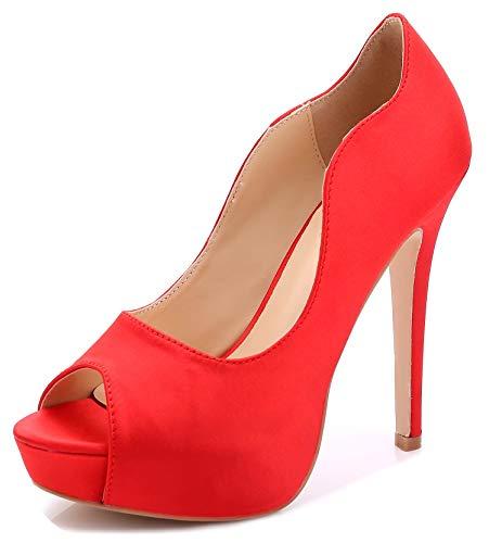 Littleboutique New Peep Toe Satin Wedding Platforms Stiletto Evening Shoes Dress Pumps Bridal Shoes Heels Red 8
