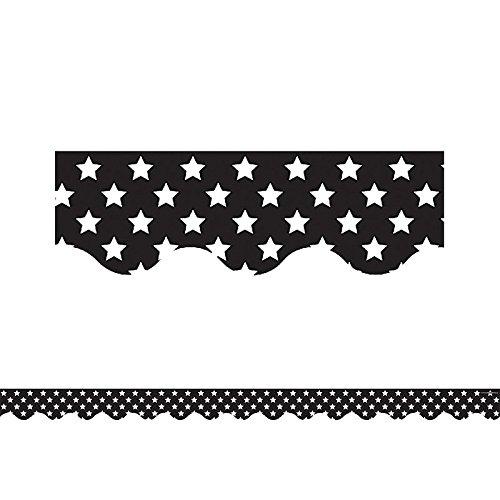 (Teacher Created Resources Black with White Stars Scalloped Border Trim)