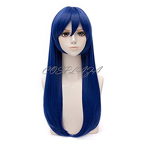 (COSPLAZA Deep Blue Long Straight Girl's Cosplay Wig Anime Full Hair)