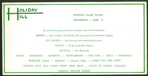 Holiday Hill Phoenix Club Picnic blotter 1956 CT