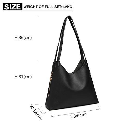 Lulu bucket Hobo Leather Black Pu Bag Set Women mobile Handbag Bag Miss Pouch Pouch cosmetics dC6wxY8qXd