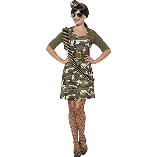 Smiffy's Women's Army Combat Cadet Costume, Dress, Jacket, Belt, Hat and Aviator Glasses, Troops, Serious Fun, Plus Size 18-20, 45503
