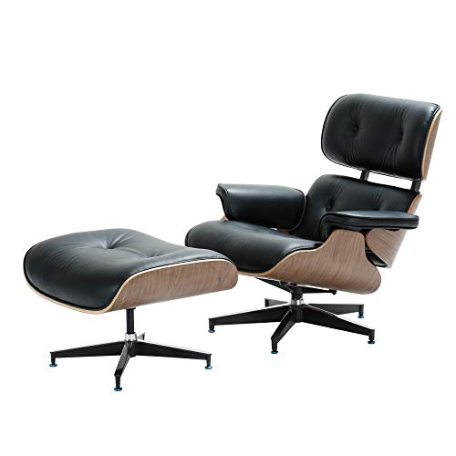 1INCHOME Lounge Chair with Ottoman Mid-Century Lounge Chair Armchairs Premium Italian Leather Living Room Recliner with Heavy Duty Base Support (Walnut Black) ()