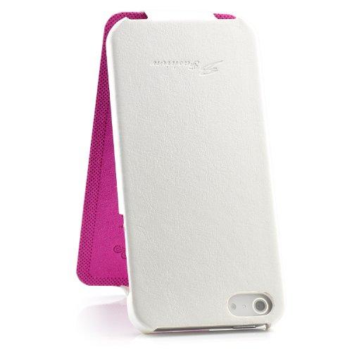 Saxonia Tasche Apple iPhone SE / 5 / 5S Hülle Case Flip Cover Schutzhülle mit Klappverschluss Weiß