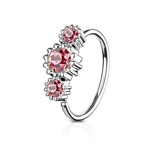 MoBody Surgical Steel Multi Purpose Piercing Hoop CZ Jeweled Nose Ring and Cartilage Earrings 20G (0.8mm) (Silver-Tone with Pink CZ)