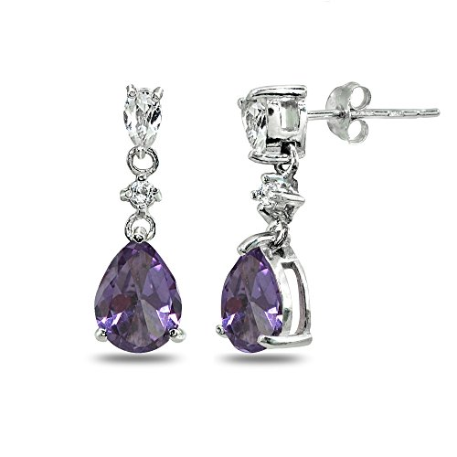 (Sterling Silver Simulated Alexandrite & White Topaz Pear-Cut Teardrop Dangling Stud Earrings)
