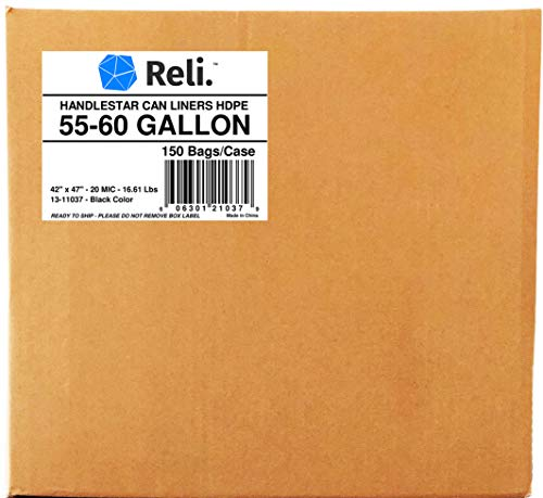 Reli. Trash Bags w/ Handles (55-60 Gallon) (150 Count), Double-Ply HandleStar Garbage Bags (Black), Handle Tie Can Liners with 55 Gallon (55 Gal) - 60 Gallon (60 Gal) Capacity by Reli. (Image #5)