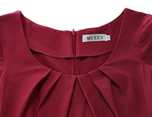 Burgundy Manica Vestito MUXXN dalla Matita 1950 Girocollo Corta Retro wqxUpzt8