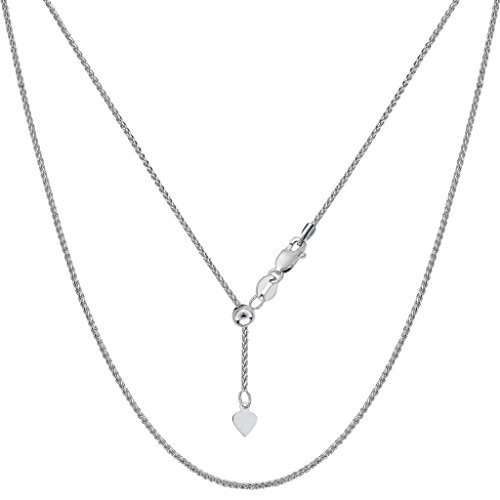 14K White Gold Ladies Adjustable Wheat Chain Necklace 1mm 22