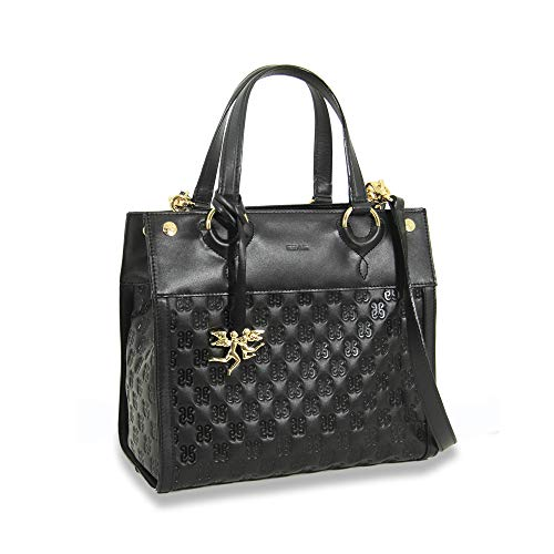 piero guidi borsa donna a mano in nappa con tracolla staccabile PG Leather Monogram nera - 6106D1080.01