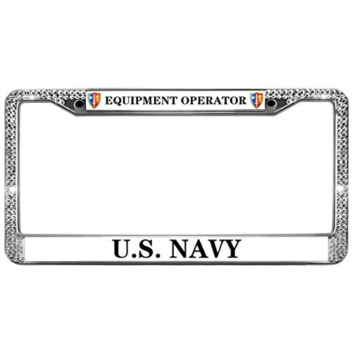 GND Rhinestone Metal License Plate Frame,Equipment Operator Rhinestone License Plate Frame United States Navy Crystal Stainless Steel License Plate Holder for US Cars