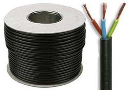 10 Meters of Black 2.5mm 24 Amp 3183Y 3 Core Flexible Cable SEL