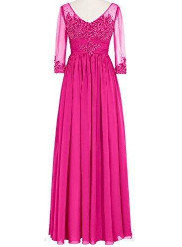 Mother Dresses V Women Sleeve Neck 4 Bride the Bridal of Long s Fuchsia Bess 3 qCO1zHx