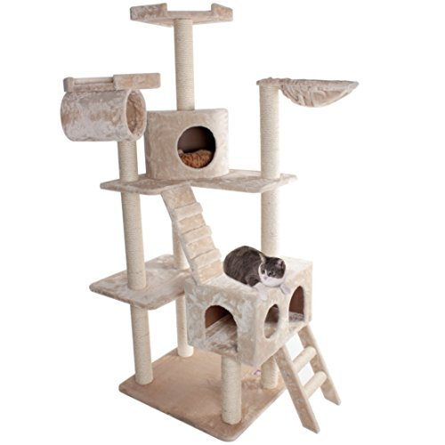Majestic Pet Products 73 inch Beige Casita Cat Furniture Condo House Scratcher Multi Level Pet Activity Tree by Majestic Pet