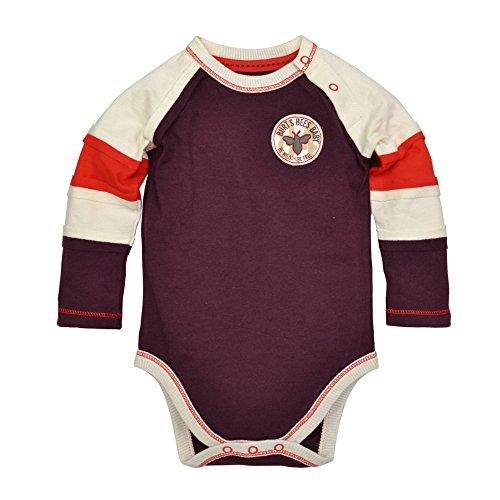 Burt's Bees Baby Baby Boys' Organic Long Sleeve Bodysuit, Deep Autumn Color Block, 12 Months