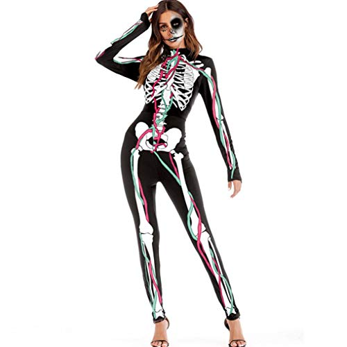 Women Halloween Cosplay Costume Jumpsuit Fancy 3D Rose Skeleton Romper Bodysuit(M,Large) -