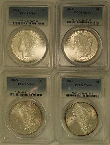 1879 S 1880 S & 1881 S & 1882 S Morgan SILVER Dollar Lot of (4) PCGS Mint State 64 Coins $1 PCGS Mint State 64 (Silver Dollar 1882)