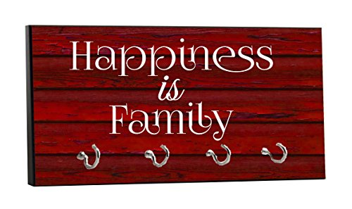 Happiness is Family - On Red Wood Print - 5