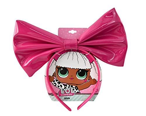 UPD LOL Surprise Diva Glee Club Large Pink Vinyl Bow Flexible Headband w/ Big Ribbon Character Hair Accessory Costume Durable Headpiece for Little Girls / Teens - L.O.L. Signature Collection -